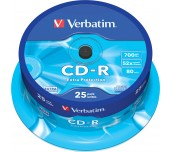 CD-R VERBATIM 700MB 52X ШПИНДЕЛ 25 БР