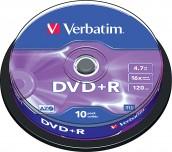 DVD-R VERBATIM 16X 4.7GB ШПИНДЕЛ 10 БР