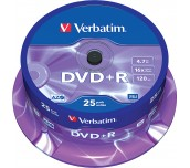 DVD-R VERBATIM 16X 4.7GB ШПИНДЕЛ 25 БР