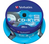 CD-R VERBATIM 700MB 52X PRINTABLE ШПИНДЕЛ 25 БР