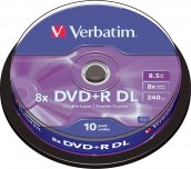 DVD+R VERBATIM 8,5GB 8X DUAL LAYER ШПИНДЕЛ 10БР