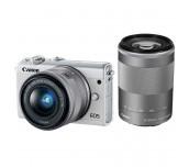 Canon EOS M100, white + EF-M 15-45mm f/3.5-6.3 IS STM + EF-M 55-200mm f/4.5-6.3 IS STM