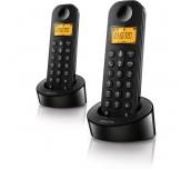 Philips безжичен телефон с 2 слушалки, черен