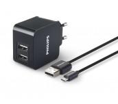 Philips универсално зарядно устройство за 2 USB устройства,  5 V, 3.1 A, вкл. USB кабел