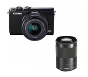 Canon EOS M100, black + EF-M 15-45mm f/3.5-6.3 IS STM + EF-M 55-200mm f/4.5-6.3 IS STM
