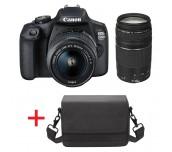 Canon EOS 2000D, black + EF-s 18-55mm f/3.5-5.6 IS II + EF 75-300 mm f/4.0-5.6 III + Canon BAG Shoulder SB100, Black