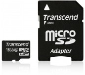 Transcend 16GB microSDHC (with adapter, Class 10)